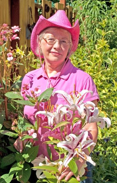 Linda in her Serenity Garden